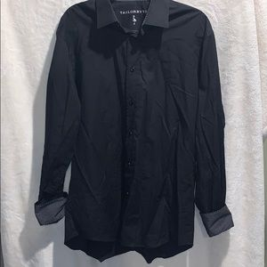 Men's Shaped Fit Tailorbyrd Black Dress Shirt
